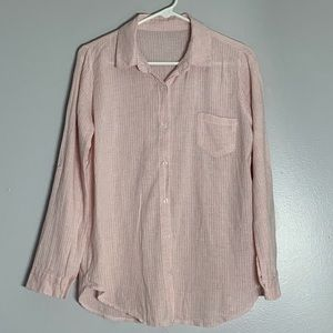 Tops - Collared Pale Pink Tab Sleeve Textured Button Up